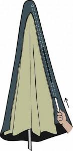 Aerocover parasolhoes stokjes